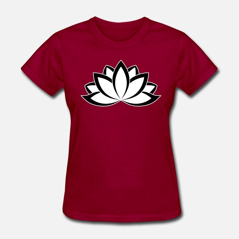 Original Black White Buddhist Symbol Lotus Flower By Dimkadnb