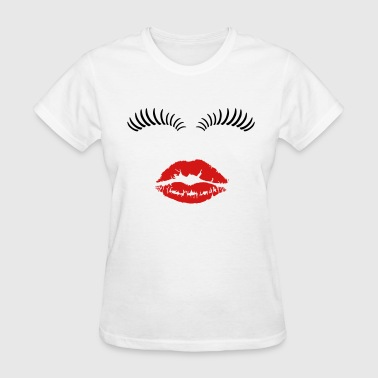 Eye lashes and kiss. - Women's T-Shirt
