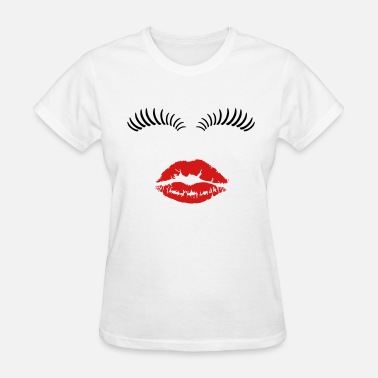 Wink Eyes Eye lashes and kiss. - Women's T-Shirt