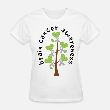 Support Cancer Research Brain Cancer Awareness Ribbon Tree - Women's T-Shirt