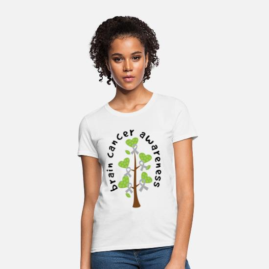 Cancer T-Shirts - Brain Cancer Awareness Ribbon Tree - Women's T-Shirt white