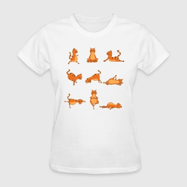 Ohm Yoga Pose Cat. Funny Yoga Jokes - Women's T-Shirt