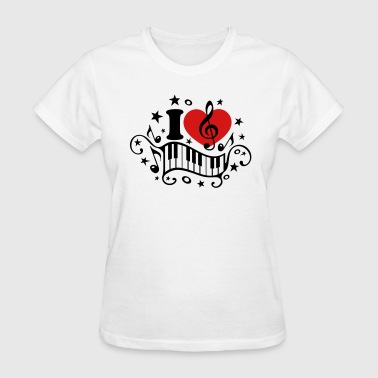 I love music heart note piano clef classic choir  - Women's T-Shirt