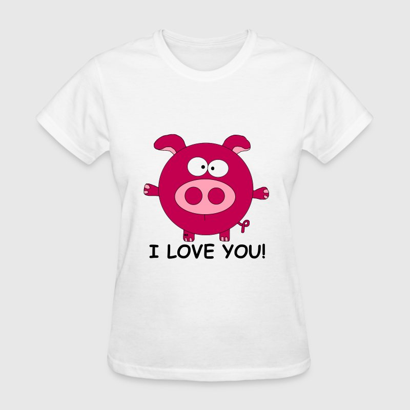 Pig I love you Lover Cupid couple Valentine Kiss - Women's T-Shirt