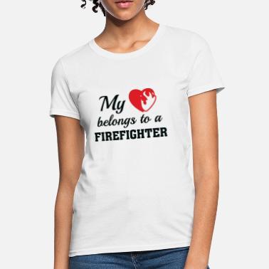 731157f57 Firefighter Couple Heart Belongs Firefighter - Women's T-Shirt