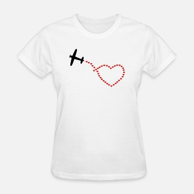 Airplane-heart-love airplane heart - Women's T-Shirt