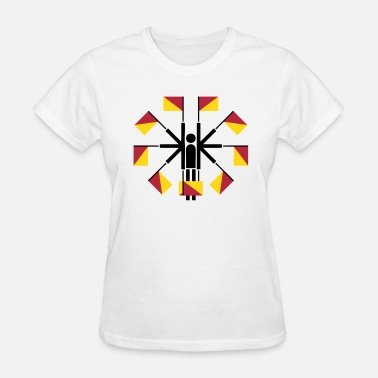 Stickfigure Semaphore Flag Positions (Stickman / Stickfigure) - Women's T-Shirt
