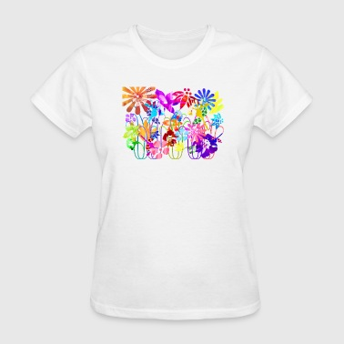 artTS collage art flowers multi mixed media - Women's T-Shirt