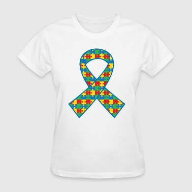 Autism Puzzle Ribbon - Women's T-Shirt