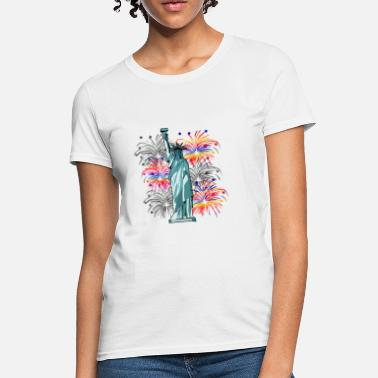 Statue Statue of Liberty July 4th American, USA, Flag - Women's T-Shirt