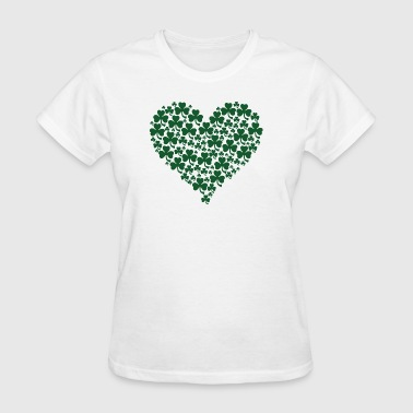 Classic Cute Heart of Shamrocks Irish - Women's T-Shirt