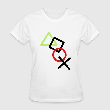 X square triangle icons controller game circle log - Women's T-Shirt