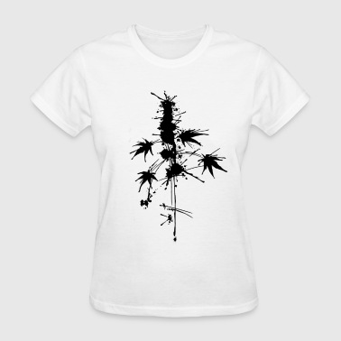 Watercolor/Splatter cannabis plant - Women's T-Shirt