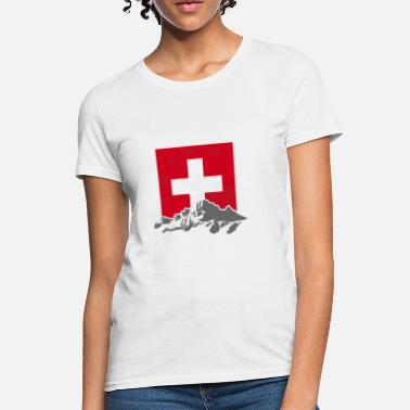 Switzerland Switzerland - Swiss Flag & Mountains - Women's T-Shirt