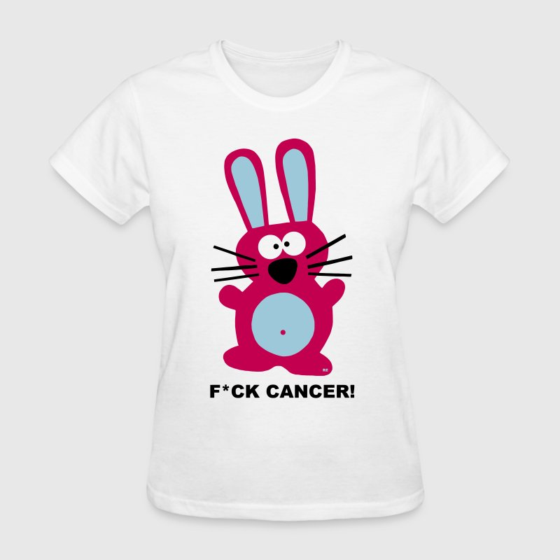Fight Fuck Cancer Breast Comic Hare Bunny Rabbit - Women's T-Shirt