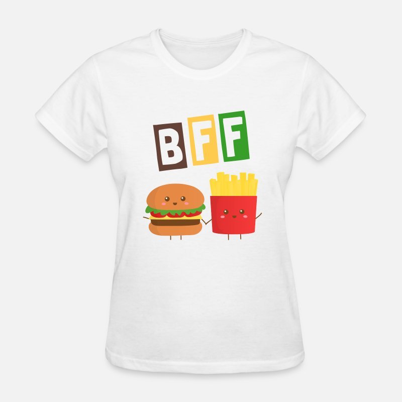 Bff T-Shirts - cute burger and French Fries who are bffs - Women's T-Shirt white