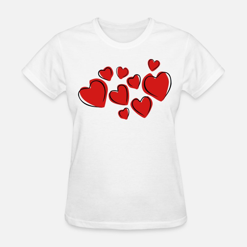 Heart T-Shirts - Love Hearts Floating (Drawing) - Women's T-Shirt white