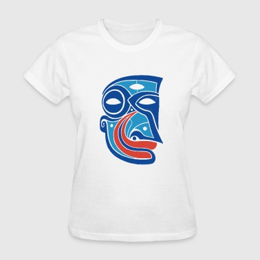Trippy Long ancient tribal indian mask moon night demon smirk - Women's T-Shirt