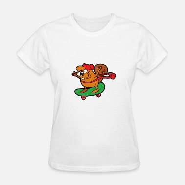 Beaver Fun Funny Cute Funny Cool Beaver Skateboard - Women's T-Shirt