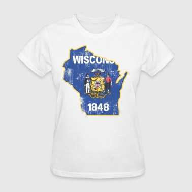 Wisconsin State Flag Outline - Women's T-Shirt