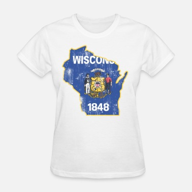 Wisconsin Flag Wisconsin State Flag Outline - Women's T-Shirt