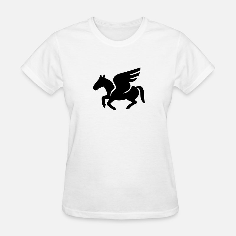 Pegasus T-Shirts - Pegasus Silhouette (Flying Horse) - Women's T-Shirt white