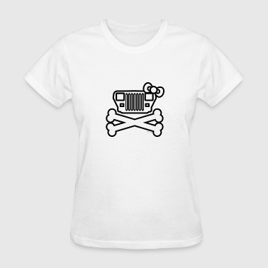 Jeep Girl YJ Wrangler Grille and Crossbones  - Women's T-Shirt