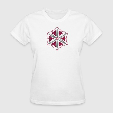 Flower of Aphrodite, silver, Symbol of  love, beauty and transformation, Power Symbol, Talisman - Women's T-Shirt
