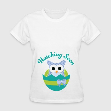 Easter Maternity Owl Hatching Soon - Women's T-Shirt
