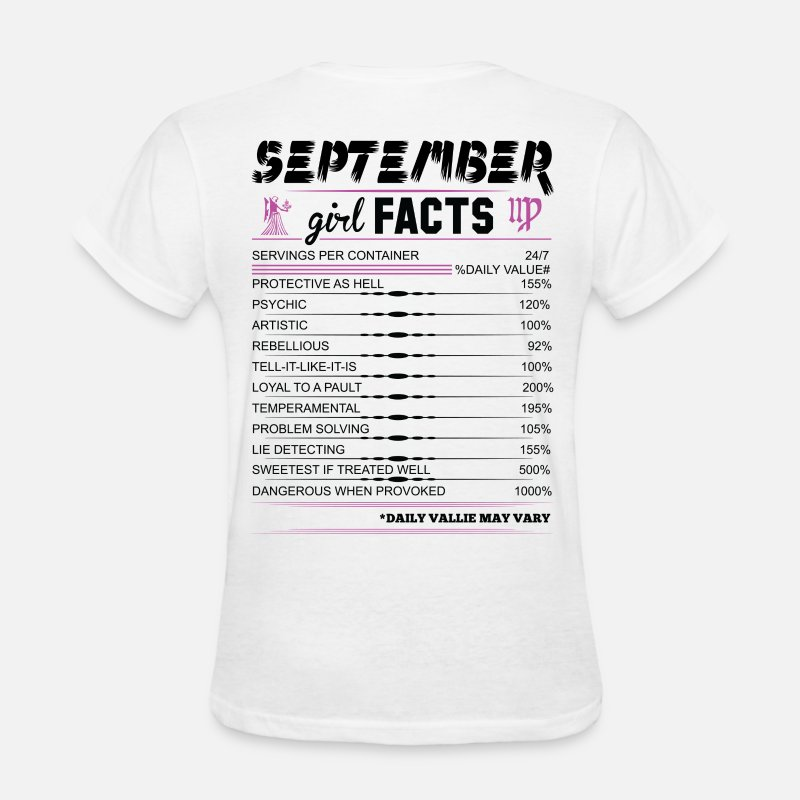 Feminist T-Shirts - September Girl Facts Virgo - Women's T-Shirt white