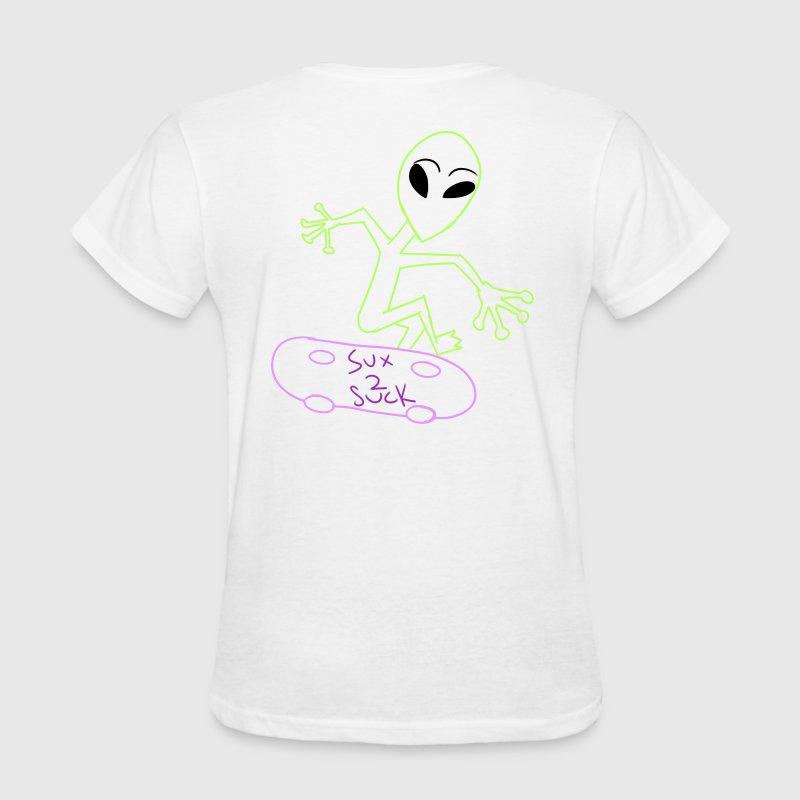 Skateboarding Alien On Back - Women's T-Shirt