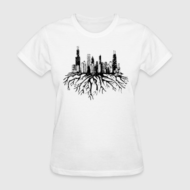 Chicago Skyline Silhouette Vector with Roots Tee - Women's T-Shirt