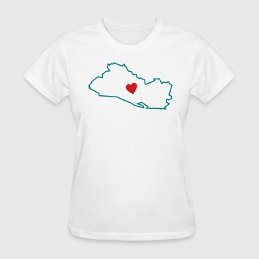 El Salvador Map Love - Women's T-Shirt