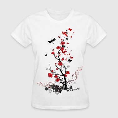 Red and Black Fl0wers - Women's T-Shirt