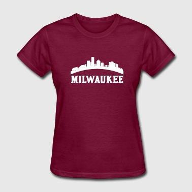 Vintage Style Skyline Of Milwaukee WI - Women's T-Shirt