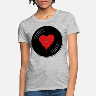 Recorder Vinyl record with a heart, i love vinyl - Women's T-Shirt