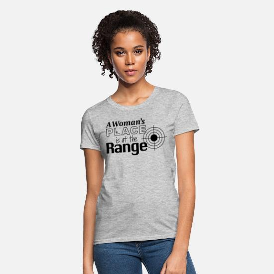 Shooting T-Shirts - A Woman's Place is at the Range - Women's T-Shirt heather gray