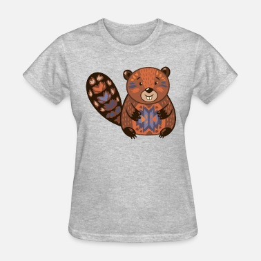 Beaver Fun Funny Beaver funny cartoon animal vector illustration - Women's T-Shirt