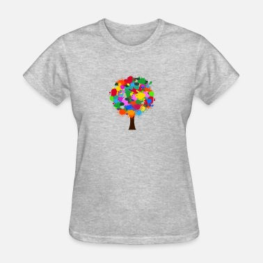 Colourful Tree Colour Splatter Tree - Women's T-Shirt