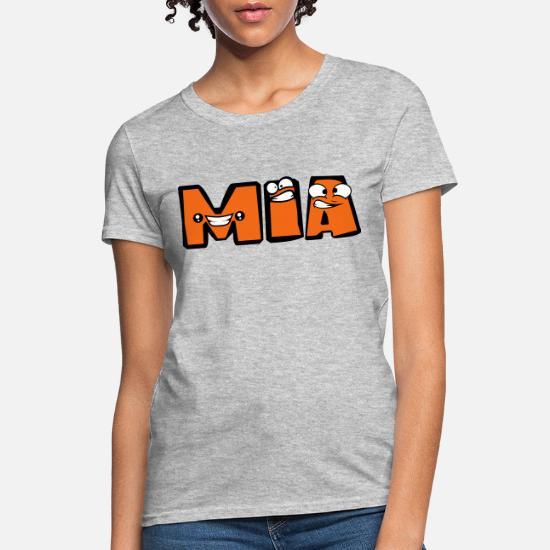 First Name Mia Girl Female Letter Name Write Carto Women S T Shirt