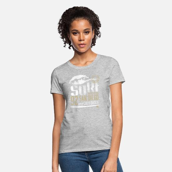 San T-Shirts - surf beach san diego - Women's T-Shirt heather gray