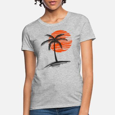 Trees sunset with tree of palm - Women's T-Shirt