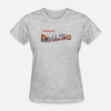 Vintage Postcard Greetings From Malibu Beach Cali Postcard - Women's T-Shirt