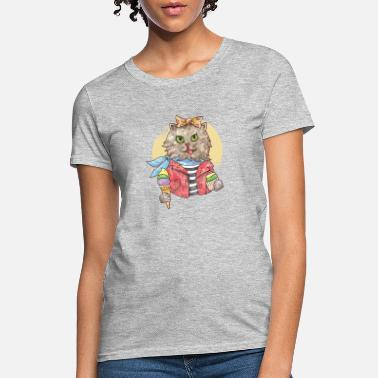 Furry Cat Rockabilly Funny Furry Cat Music - Women's T-Shirt