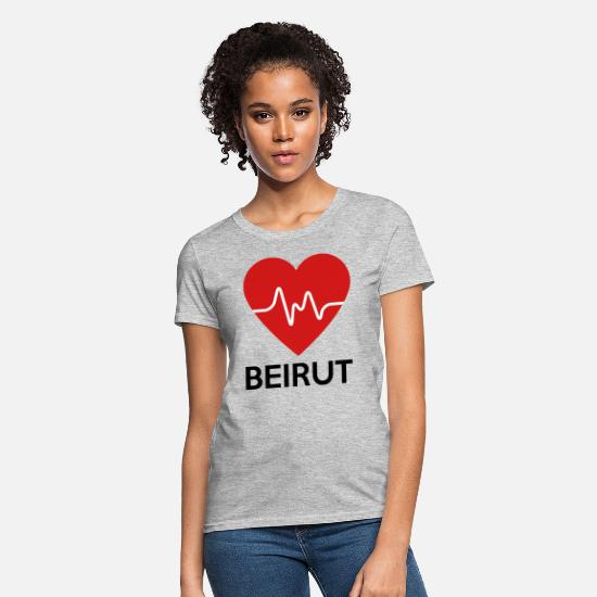Lebanon T-Shirts - Heart Beirut - Women's T-Shirt heather gray