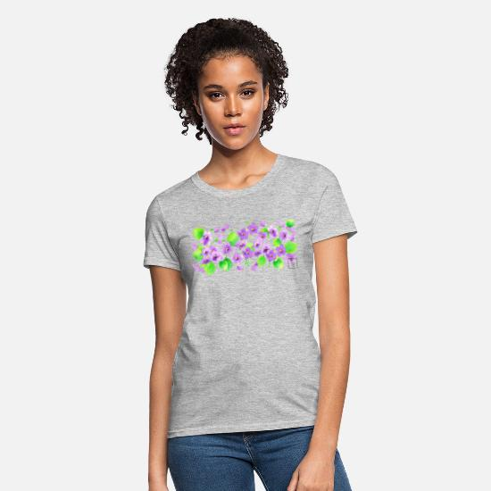 Floral T-Shirts - Watercolor Violets - Women's T-Shirt heather gray