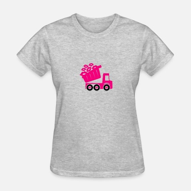 Pink Panda Pink Kisses Loads of Love Pink Truck Valentine - Women's T-Shirt