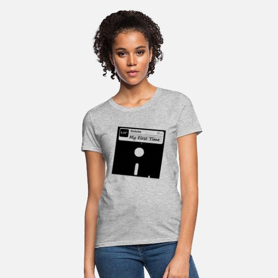 Pc T-Shirts - My First Time Retro 80s Floppy Disk - Women's T-Shirt heather gray