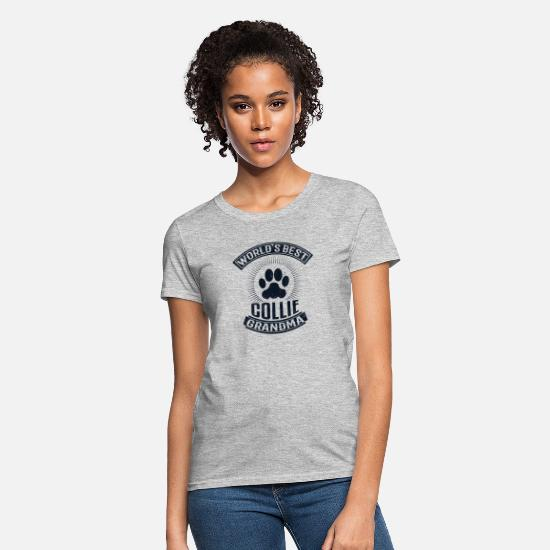 Paw T-Shirts - World's Best Collie Grandma - Women's T-Shirt heather gray