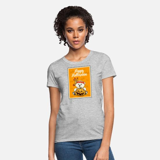 Indian T-Shirts - Halloween Polar bear Pumpkin Indian - Women's T-Shirt heather gray
